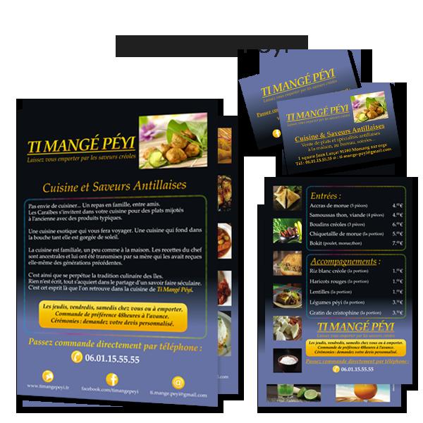 Déclinaison identité Ti Mangé Péyi, restauration antillaise.