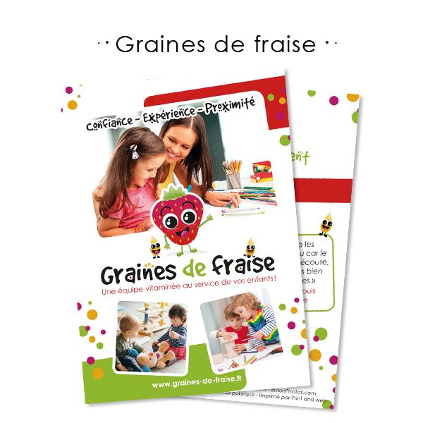 Création de flyer A5 pour Graines de fraise à Sainte-Geneviève-des-Bois