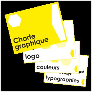 Dans la charte graphique, il y a votre logo, vos couleurs, vos typographies et pourquoi pas l'ensemble de vos supports