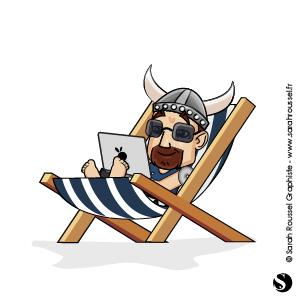 Illustration viking en vacances